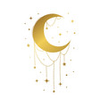 gold ornate month with jewelry boho foil vector image vector image