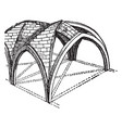 groined vault with zigzag ridge-joints as a vector image vector image