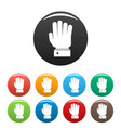 hand stop icons set color vector image