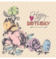 Happy birthday card floral corner ornament vector image vector image