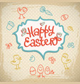 happy easter doodle card vector image