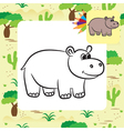 hippo coloring page vector image vector image