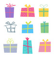 holiday gifts icons and present boxes in cartoon vector image vector image