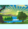 landscape - swans at the waterfall vector image vector image