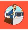 Man at the train station vector image vector image
