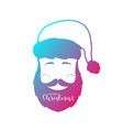 man with beard and mustache wearing santa claus vector image