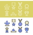 Medal and winner icon set vector image vector image