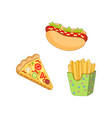 pizza slice french fries hot dog set vector image vector image
