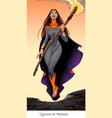 queen of wands tarot card vector image