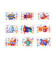 retro toy air transport set airship airplane vector image