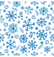 Seamless pattern with hand drawn watercolor snowfl vector image vector image