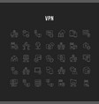 set line icons vpn vector image