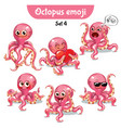 set of cute octopus characters set 4 vector image