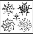 set of five isolated mandalas black on white vector image