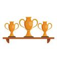 trophy cups on shelf vector image vector image