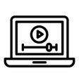 video clip on a laptop icon outline style vector image vector image