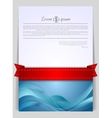 Wavy background flyer with red ribbon vector image vector image