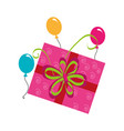color silhouette with gift box and balloons vector image