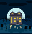 a lonely house at night in front of the moon vector image