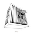 black and white hand drawn sketch of organ large vector image