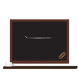 black board and line with wooden shelf on white vector image