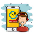 call center support concept vector image