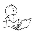 cartoon man working and typing on laptop vector image vector image