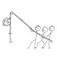 cartoon people hanging planet earth hanged vector image
