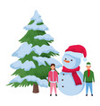 children with snowman and christmas tree vector image vector image