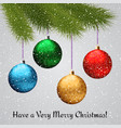christmas background with fir branch and balls on vector image
