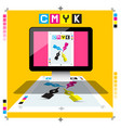 cmyk printing document on pc computer with marks vector image