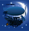 complex fantastic flying ship in night sky with vector image