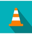 Cone traffic flat icon vector image