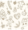 Doodle Christmas cookies seamless pattern Vintage vector image vector image