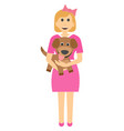 female child with a puppy girl with dog in her vector image