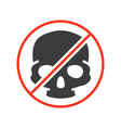 forbidden sign with a human skull colored icon vector image vector image