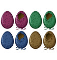 four colors of dinosaur eggs vector image vector image
