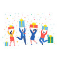 funny mini business people people with gifts new vector image