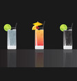 gin tonic cocktail tequila sunrise and soda lime vector image