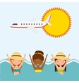 girls sun airplane sea icon Swimming and pool vector image