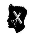 graphic scissors and comb in head vector image vector image