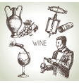 Hand drawn sketch wine set vector image vector image