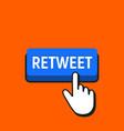 hand mouse cursor clicks the retweet button vector image vector image