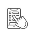 hand with phone booking a hotel room line icon vector image