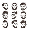 handsome bearded hipster man faces with mustache vector image vector image