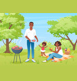 happy family people on bbq picnic mother father vector image vector image