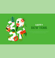 happy new year 2021 folk decoration template vector image