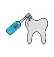 human tooth with toothbrush electric vector image