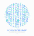 information technology concept in circle vector image vector image