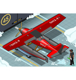 Isometric Artic Hydroplane Landed in Rear View vector image vector image